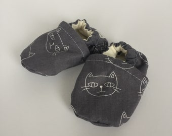 Booties - Baby - Kitty Cat - Grey Charcoal - Cotton - Shoes