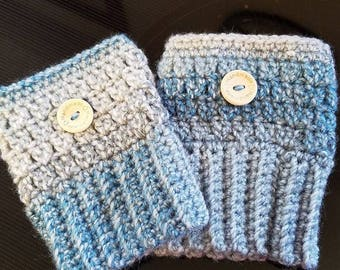 Hand Crochet Blue / Grey Boot Cuffs Adult