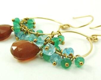 Gemstone Cluster Hoop Earrings - AdoniaJewelry