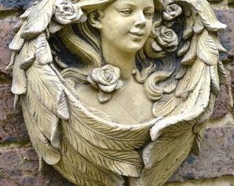 "Angel stone wall plaque bird feeder ""Rose"" 33cm/13"" H"