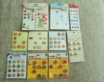 Large Lot Of Decorative Brads, Christmas, Flowers, Bottlecap Brads, Wild Life, Crafting Supplies, Scrap-booking, Card Making, Doll Making