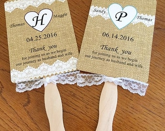 Burlap and Lace Wedding Fan / Ceremony Fan / Rustic / ASSEMBLED