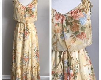 70s Floral Boho Prairie Maxi Dress