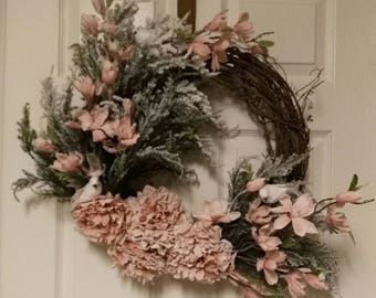 Vintage winter wreath with doves