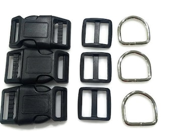 "Pet Collar Hardware Supplies - 1"" Hardware - 6 pieces each D Rings, Snap Buckles, Plastic Tri-Slide - Make Your Own Adjustable Pet Collars"