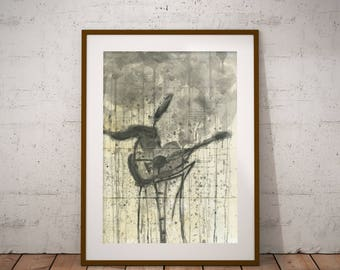 Watercolor Print Digital Instant download Artwork Music Rain Painting Gray Illustration Decor Drawing Office Wall Print Poster blackandwhite