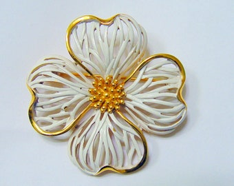 Vintage Crown Trifari 4 Leaf Clover Brooch
