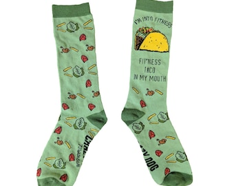 Food Socks, Taco Socks, Mexican Theme Socks, Taco Gifts, Taco Lover Presents, Food Clothes, Funny Food Clothing, Green Silly Socks