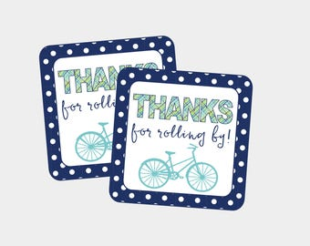 Thanks For Rolling By! Favor Tag for Bicycle Birthday Party or Baby Shower. Bicycle, Bike Party tags. Instant Digital Download.