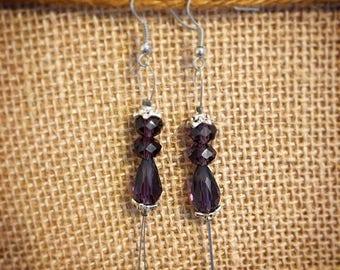 Purple Bead Earrings, Purple and Silver Drop Earrings, Purple Dangle Earrings, Elegant Bead Earrings, Wire Dangle Bead Earrings