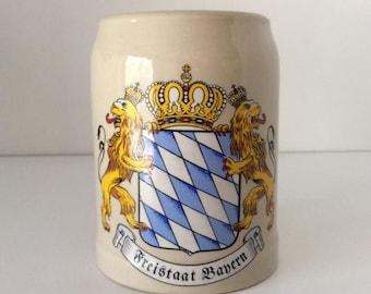 Freistaat Bayern Stoneware Beer Mug   Germany   Vintage