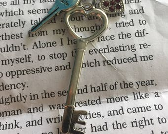 Silver red heart key charm pendant