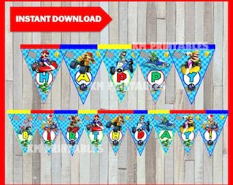 Printable Mario Kart Banner instant download, Mario Bros Birthday Banner, Printable Mario Kart Triangle Banner