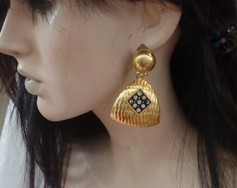 Vintage 1980s Gold Tone Earrings with clear stones