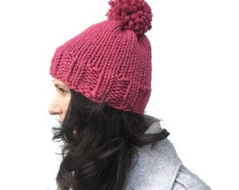 Chunky knit hat pattern, knitting pattern, womens hat pattern, knit winter hat pattern, winter hat for women, knit hat with pompom