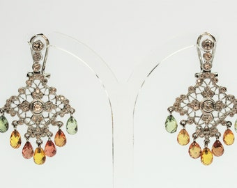 Pair of gold filigree earrings, sapphires and diamonds.