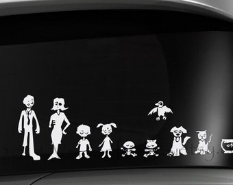 Zombie modern stick figure family car decal, graphic decal, vinyl decal, decal, car sticker, stick figure decal