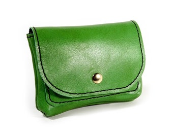 Green leather wallet/card holder/pouch