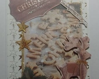 Merry Christmas, cookies and deer wooden card 3D