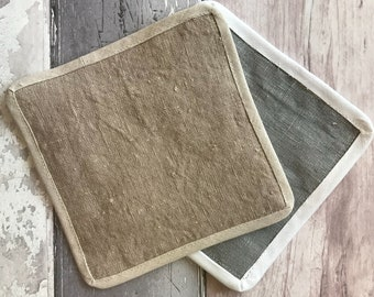 Wash Pad - Shower Pad -  Pure Linen - Grey - Taupe - Natural Linen