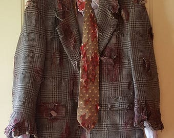 Hand Painted Gory Zombie Business Man Halloween Costume Small OOAK