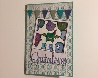 Monster birthday card, monster party, polaroid, selfie, fun, happy party