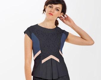 Organic Clothes / Organic Cotton / Organic Fashion / Peplum / Peplum Top / Pleat Top / Cap Sleeve Blouse / Geo Fashion / Eco Fashion