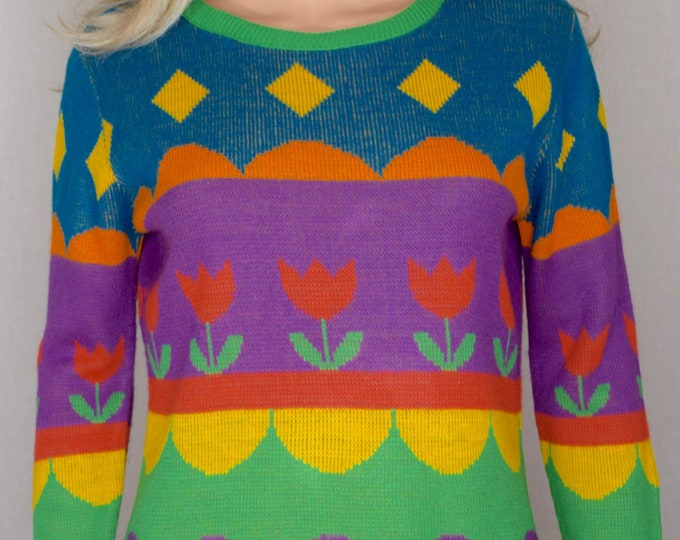 Vintage 1970's Women's Charlie's Girls Striped PoP ArT Tulip RAINBOW Knit HiPPiE Sweater Size M