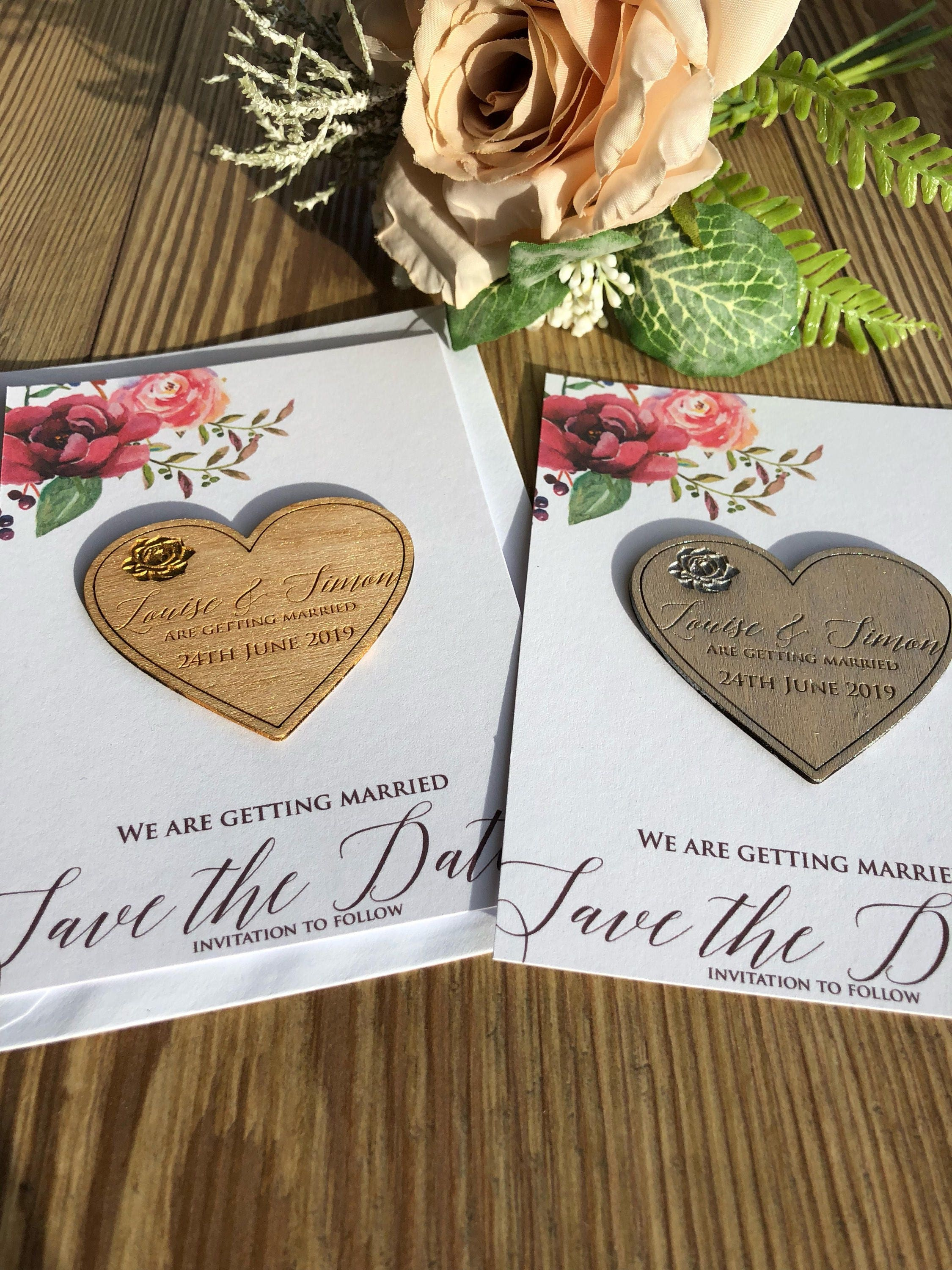 Rose and Heart save the date magnet and card
