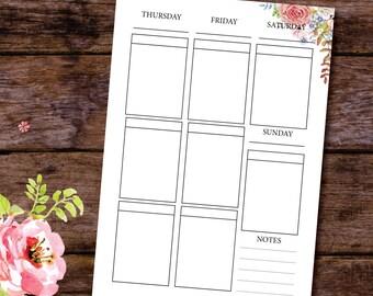 Box Planner Insert, Weekly Printable Planner Insert, Vertical Planner Inserts, Weekly planner, A5/A4/US Letter, Letter Size Planner
