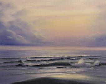 Large Sunrise over the Ocean Oil Painting on Canvas, Sunrise Splendor
