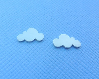 Silver Cloud Earrings - Tiny Solid Sterling 925 Silver Cloud Small Ear Studs Handmade