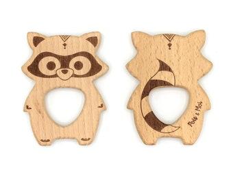 Wood, exclusive teething polka dot & me toy Eleanor raccoon, wooden teether, named Eleanor the racoon exclusiv design from us
