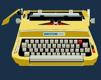 Typewriter Print, Giclee, Midcentury Typewriter Art, Office Art Print Giclee, Gold,FREE DOMESTIC SHIPPING.