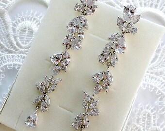 Bridal earrings Crystal Wedding earrings Bridal jewelry Dangle earrings Wedding jewelry Drop earrings Leaf earrings Long Silver earrings jm