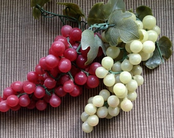 Grapes, Brunch of Soft Plastic Grapes, Vine and Leaves