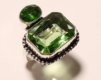 Faceted Peridot Chrome Diopside Quartz Silver Plated Handmade Ring us size 7.75