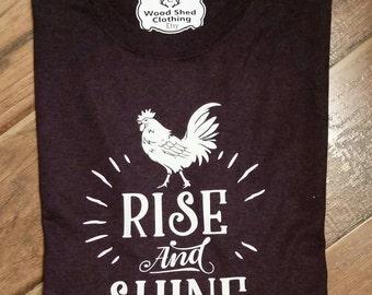 Rise and Shine Shirt. Rooster Shirt. Chicken Shirt. Retro Chicken Shirt.