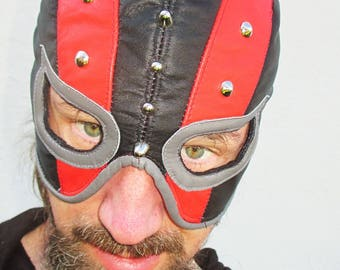 Leather Executioner Mask Half Hood Black/ Red/ Gray with Teardrop Eyes/ Nickel Studs Fetish Kinkster