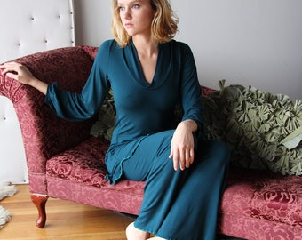 bamboo pajama set including tunic and lounge pants - CATHEDRAL -  bamboo sleepwear and lingerie range - made to order