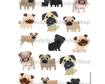Made to order-Pug Sticker Sheet