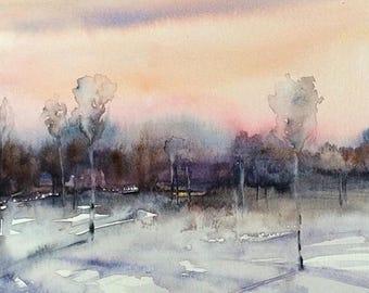 Watercolor trees, watercolor landscape, birch trees, birch tree watercolor, trees in field, tree watercolor, birch tree watercolor, trees