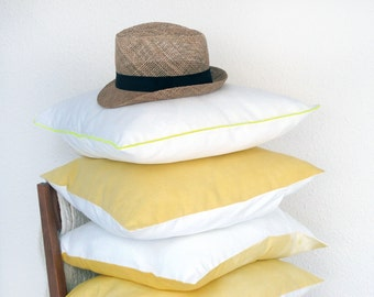1 cushion cover in a French vintage metis linen, white and yellow border, euro sham 18x18 inches