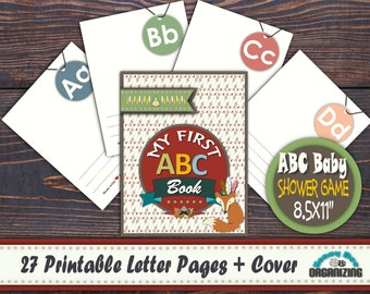 Printable DIY Alphabet Book - ABC Workbook - ABC Baby Shower Game - Alphabet Flash Cards - Gift for Newborn - Tribal Alphabet Book