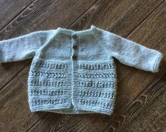Handmade knitted child's sweater, size 12 months