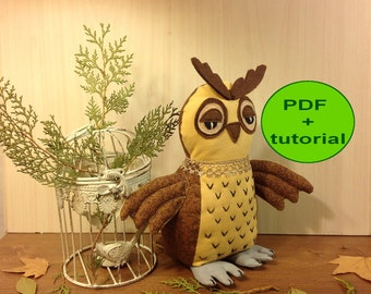 Owl sewing pattern owl pattern stuff owl toy sewing PDF softie pattern woodland animal owl plush pattern owl soft toy cloth toy tutorial