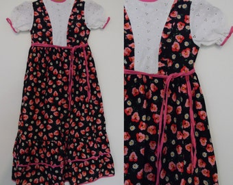 Vintage girls floral dress French retro cotton short sleeve summer long dress Age 5 Black and pink flower pattern prairie ruffle dress