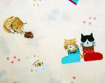 Animal Print Fabric - Cotton Fabric - Puss in Boots on Cream - Half Yard