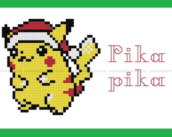 Pokemon inspired Pikachu Christmas Holiday cross stitch card - PDF pattern