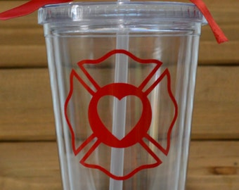 Firefighter Heart Maltese Cross Tumbler Straw Cup! Firefighter Cup- Firefighter Tumbler Straw Cup- First Responder Cup